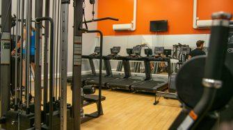 Fitness studio running machines