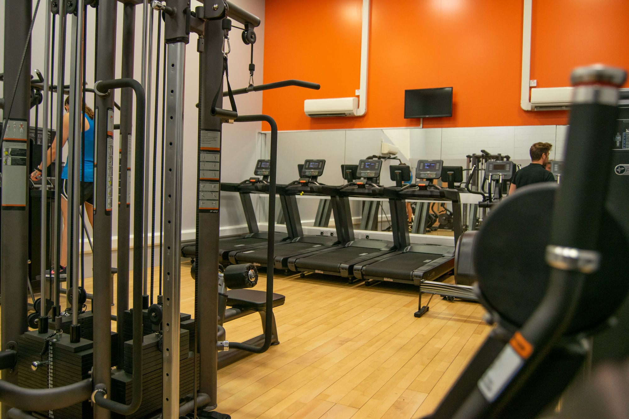 Fitness studio running machines