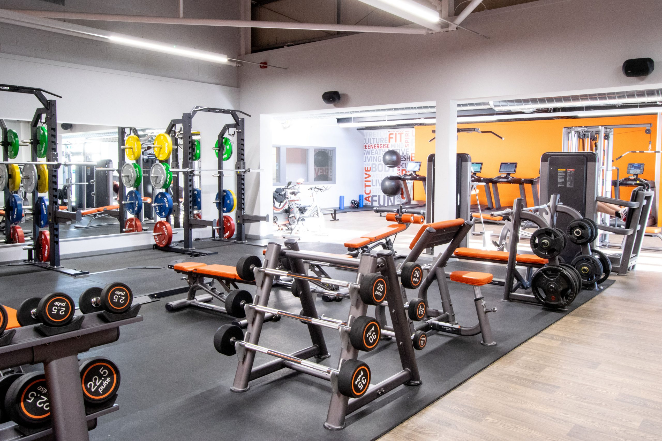 Fitness studio with varied workout machines